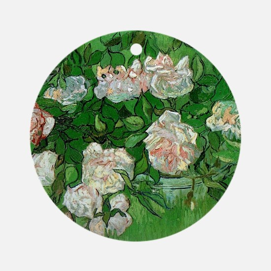 Pink Roses by Vincent van Gogh Round Ornament