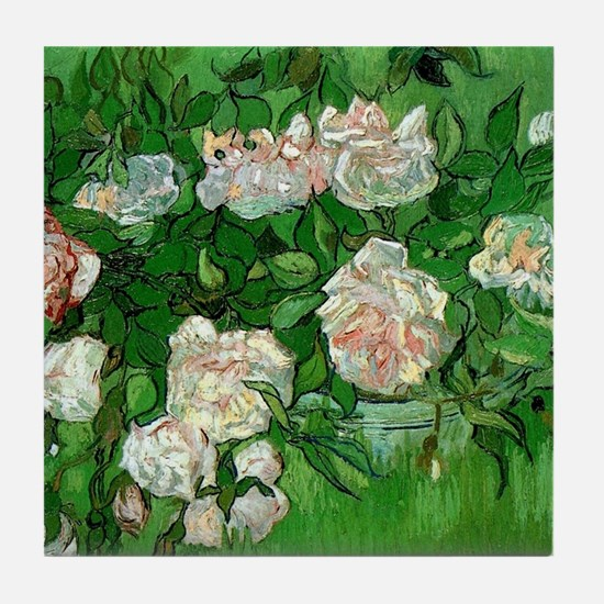Pink Roses by Vincent van Gogh Tile Coaster