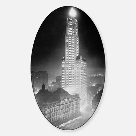 Woolworth Building at Night Sticker (Oval)