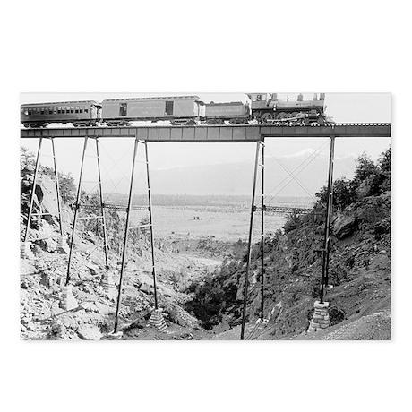 Train Crossing High Bridg Postcards (Package of 8)