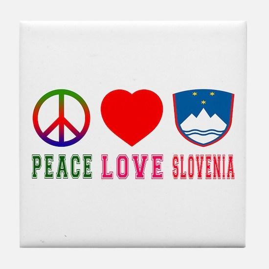 Peace Love Slovenia Tile Coaster
