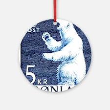 Vintage 1963 Greenland Polar Bear P Round Ornament