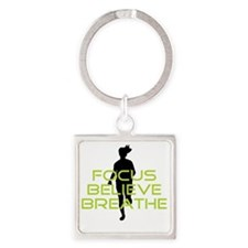 Green Focus Believe Breathe Square Keychain