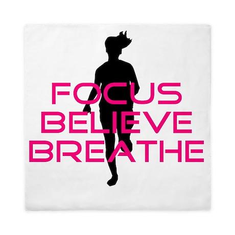 Pink Focus Believe Breathe Queen Duvet