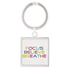 Multi Focus Believe Breathe Square Keychain