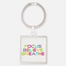 Multi Focus Believe Breathe Square Keychain