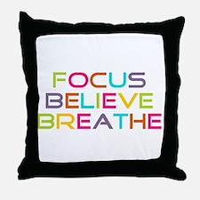 Multi Focus Believe Breathe Throw Pillow