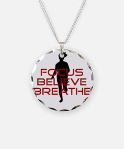 Red Focus Believe Breathe Necklace