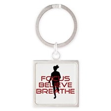 Red Focus Believe Breathe Square Keychain
