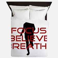 Red Focus Believe Breathe Queen Duvet