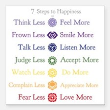 "7 Steps to Happiness wit Square Car Magnet 3"" x 3"""