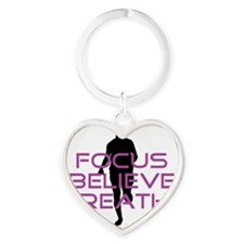Purple Focus Believe Breathe Heart Keychain