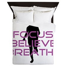 Purple Focus Believe Breathe Queen Duvet