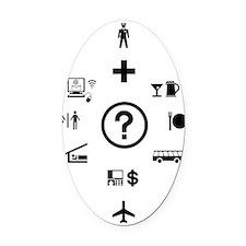 Travel Phrases Symbols  Oval Car Magnet