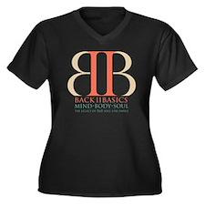 Back II Basi Women's Plus Size Dark V-Neck T-Shirt