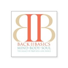 "Back II Basics (tri-color d Square Sticker 3"" x 3"""