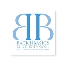 "Back II Basics (dusk blue) Square Sticker 3"" x 3"""