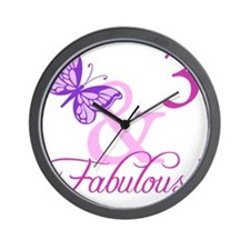 Fabulous 3rd Birthday For Girls Wall Clock