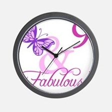 Fabulous 9th Birthday For Girls Wall Clock