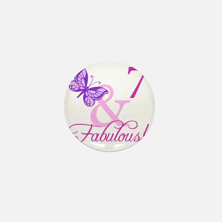 Fabulous 7th Birthday For Girls Mini Button