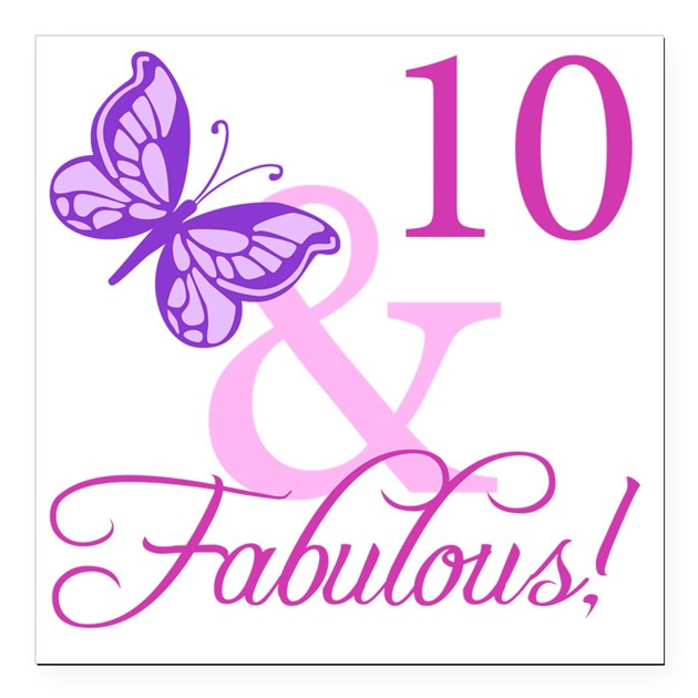"Fabulous 10th Birthday F Square Car Magnet 3"" x 3"" by ..."