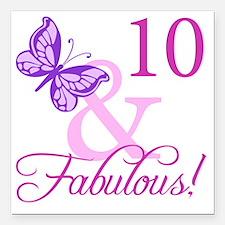 "Fabulous 10th Birthday F Square Car Magnet 3"" x 3"""