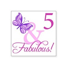 "Fabulous 5th Birthday For G Square Sticker 3"" x 3"""
