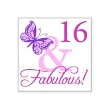 """Fabulous 16th Birthday For  Square Sticker 3"""" x 3"""""""
