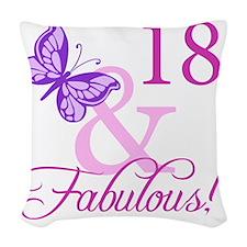 Fabulous 18th Birthday For Gir Woven Throw Pillow