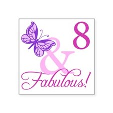 """Fabulous 8th Birthday For G Square Sticker 3"""" x 3"""""""