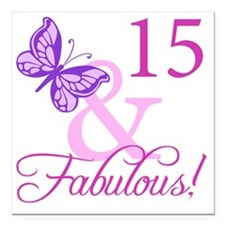 "Fabulous 15th Birthday F Square Car Magnet 3"" x 3"""