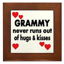 GRAMMY  NEVER RUNS  OUT OF HUGS  KISSE Framed Tile