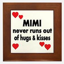 MIMI NEVER RUNS  OUT OF HUGS  KISSES Framed Tile
