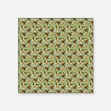 """Floral Red Roses on Green Square Sticker 3"""" x 3"""""""