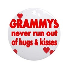 GRAMMYS  NEVER RUN  OUT OF HUGS  KI Round Ornament