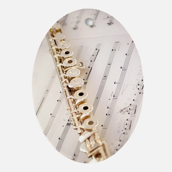 Flute and Music For Phone Case Oval Ornament