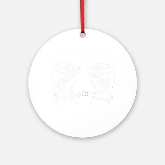 White Breaking Handcuffs Round Ornament