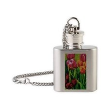 Tulip Watercolor Painting Flask Necklace