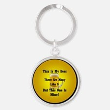 This Is My Beer Round Keychain
