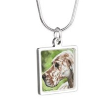 English Setter Profile Silver Square Necklace