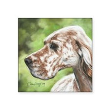 "English Setter Profile Square Sticker 3"" x 3"""