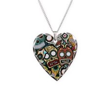 Day of the Dead Necklace Heart Charm