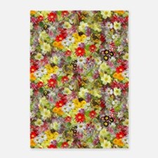 Red and Yellow Spring Flowers 5'x7'Area Rug