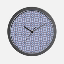 Blue and Brown Aztec Pattern Wall Clock