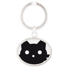 Black cat face design Oval Keychain