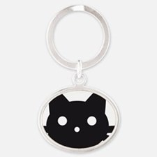 Black cat face design Oval Keychain