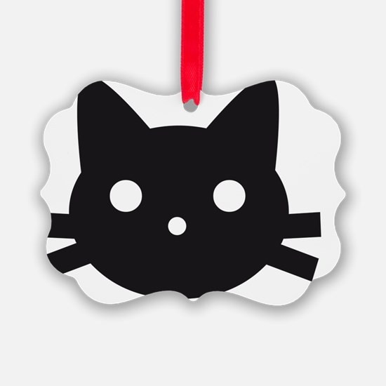 Black cat face design Ornament