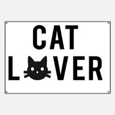 Cat lover with black cat face  Banner