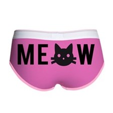 Meow, with black cat face, text  Women's Boy Brief