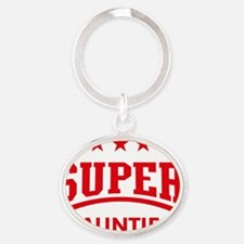 Super Auntie (Red) Oval Keychain